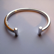 Sterling Silver Kids square profile T-Bar torque torc Bangle 6.5g